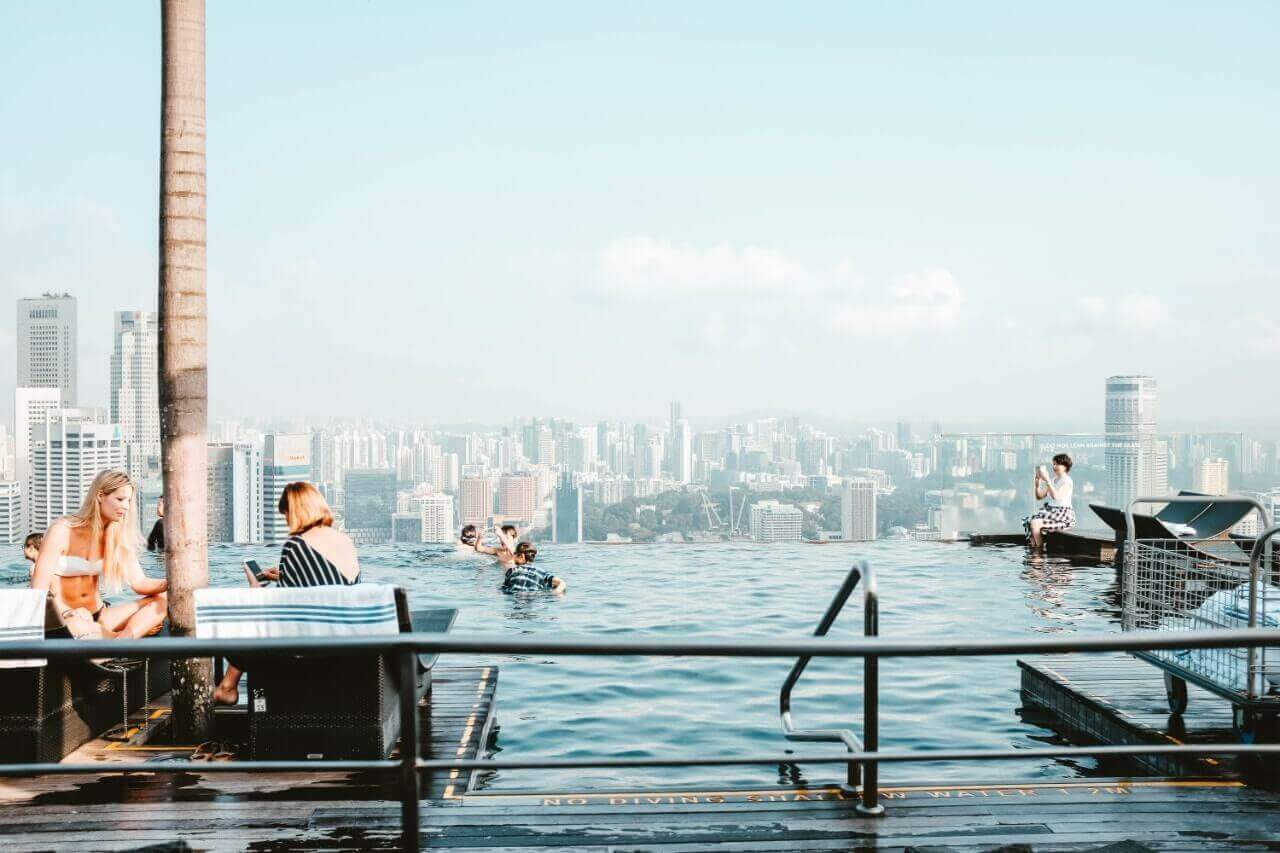 Infinity Edge Pool di Marina Sands Bay.